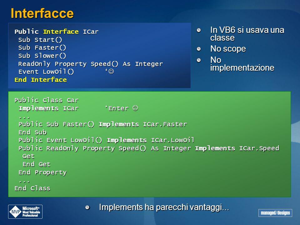 Interfacce In VB6 si usava una classe No scope No implementazione