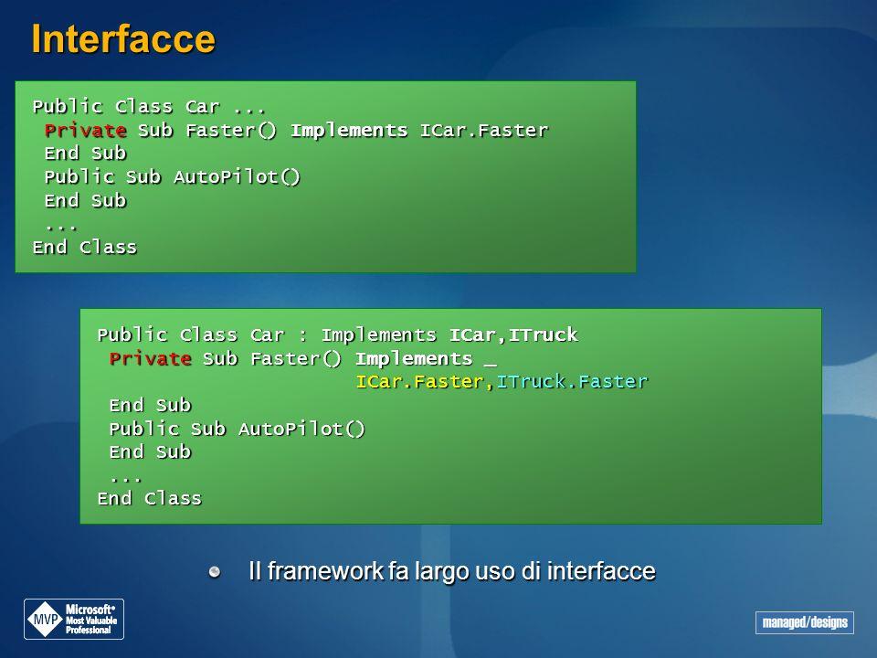 Interfacce Il framework fa largo uso di interfacce