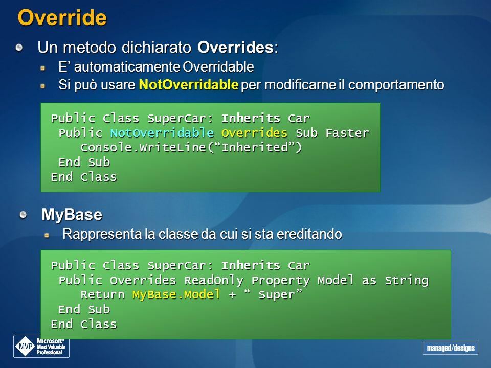 Override Un metodo dichiarato Overrides: MyBase