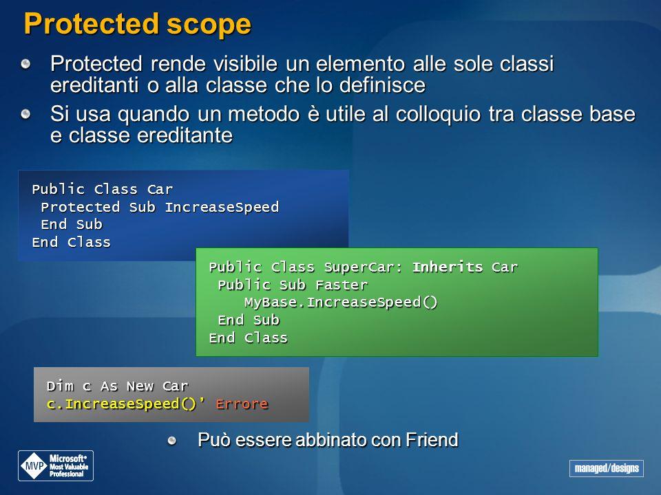 Protected scope Protected rende visibile un elemento alle sole classi ereditanti o alla classe che lo definisce.