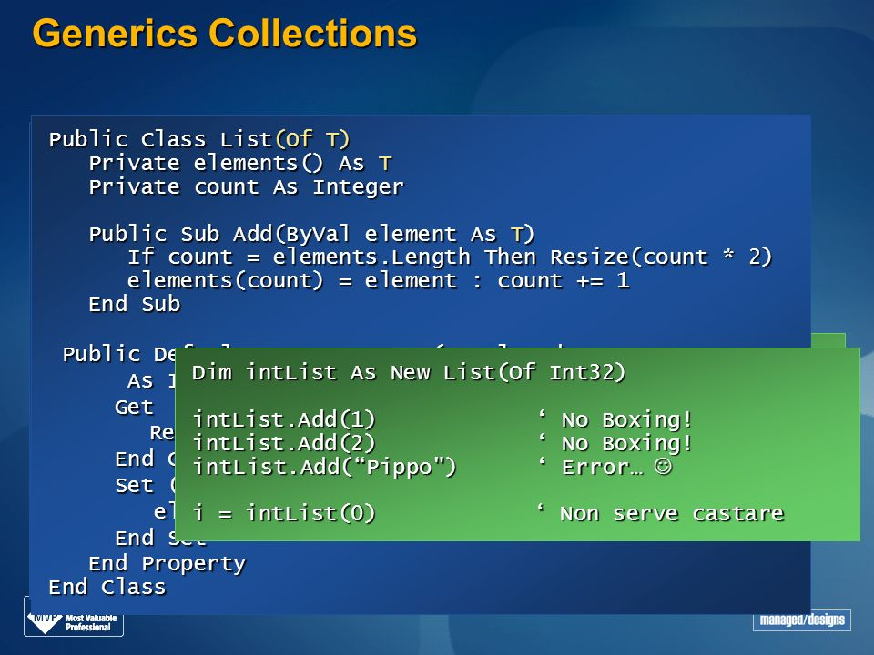 Generics Collections Public Class List(Of T) Public Class List