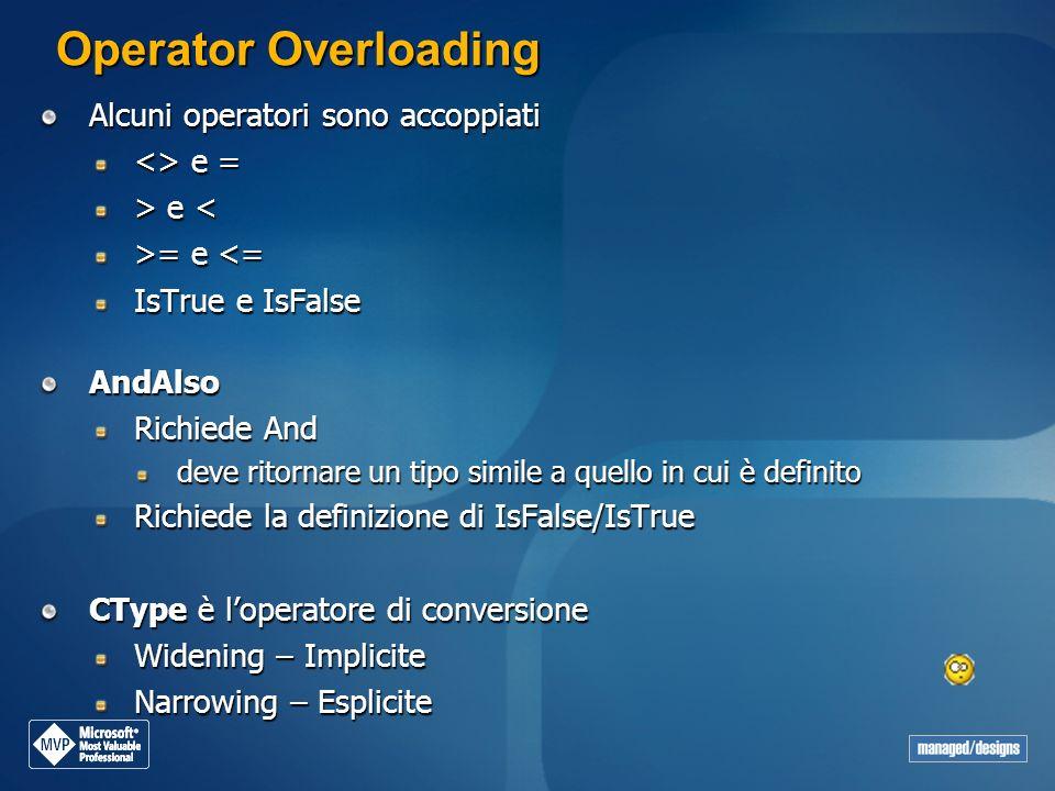 Operator Overloading Alcuni operatori sono accoppiati <> e =