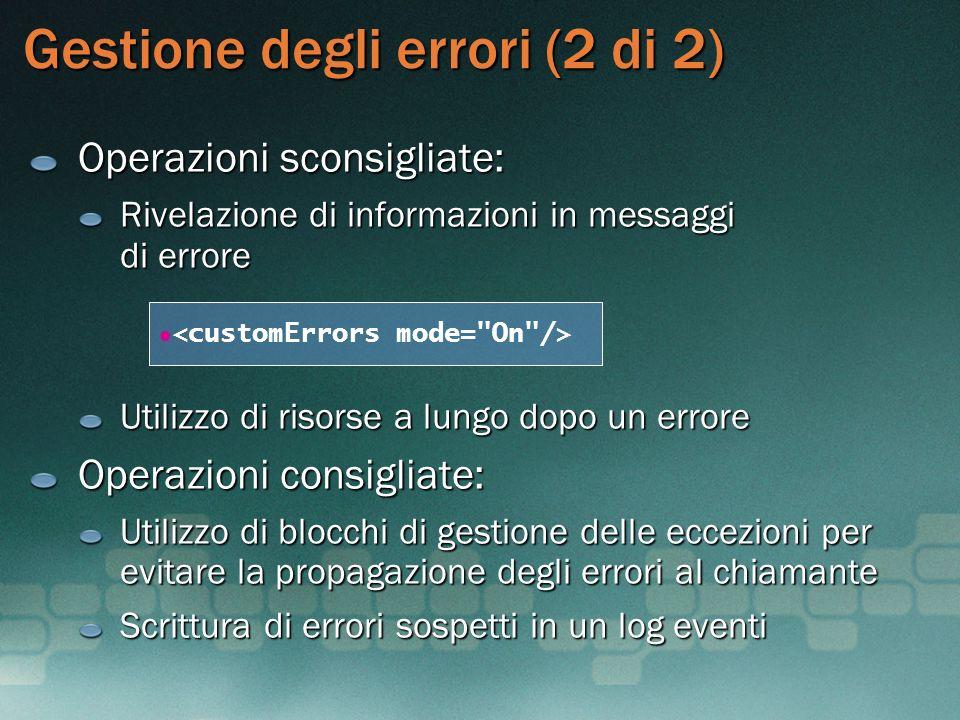 Gestione degli errori (2 di 2)
