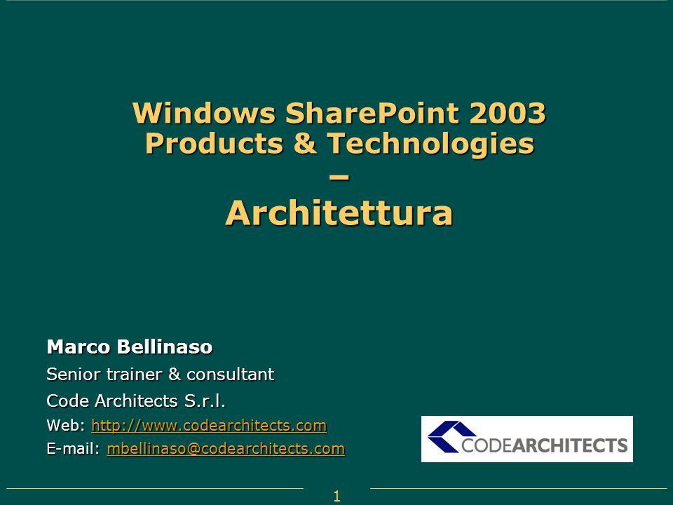 Windows SharePoint 2003 Products & Technologies – Architettura
