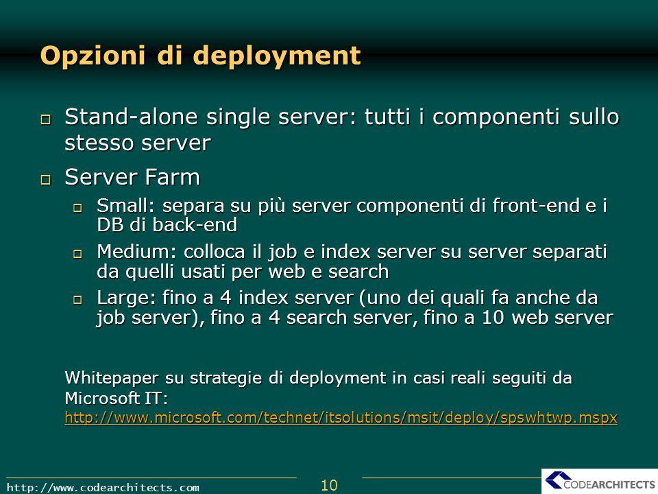 Opzioni di deployment Stand-alone single server: tutti i componenti sullo stesso server. Server Farm.