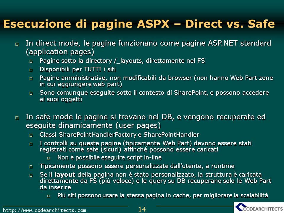 Esecuzione di pagine ASPX – Direct vs. Safe