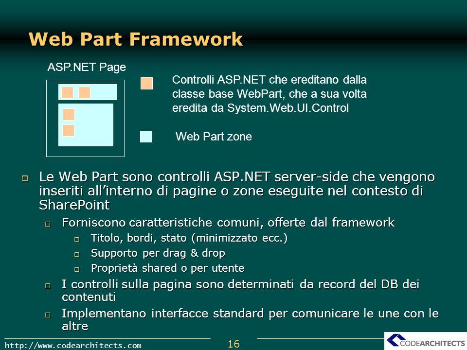 Web Part Framework ASP.NET Page. Controlli ASP.NET che ereditano dalla classe base WebPart, che a sua volta eredita da System.Web.UI.Control.