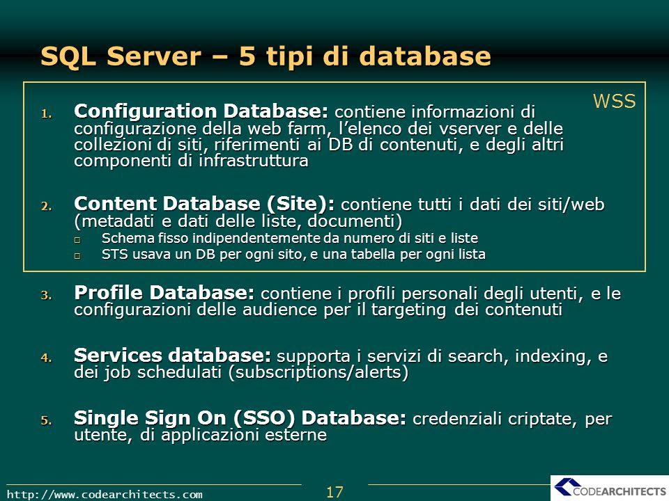 SQL Server – 5 tipi di database