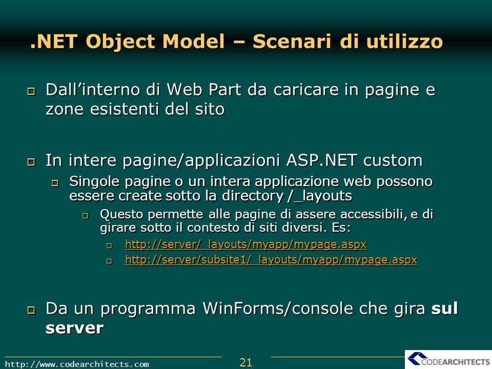 .NET Object Model – Scenari di utilizzo