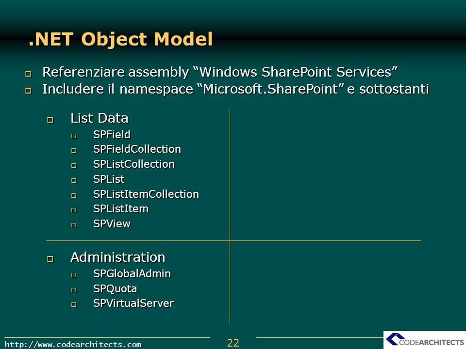 .NET Object Model Referenziare assembly Windows SharePoint Services