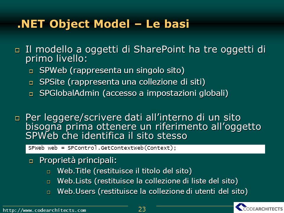 .NET Object Model – Le basi