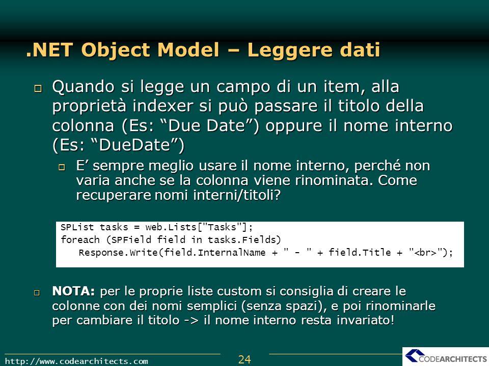 .NET Object Model – Leggere dati
