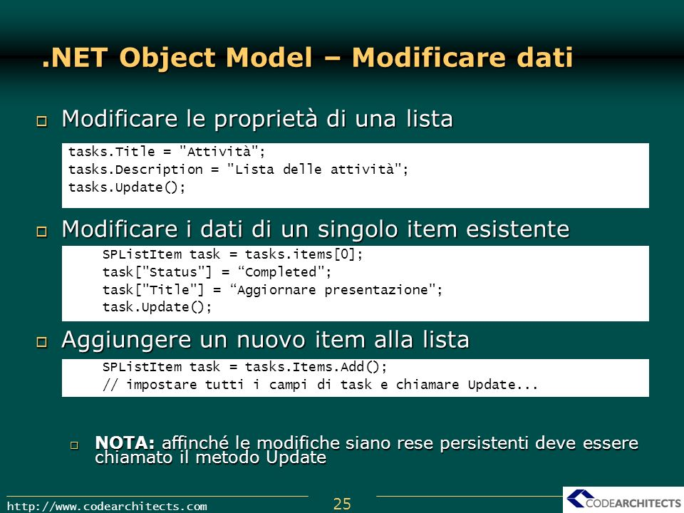 .NET Object Model – Modificare dati
