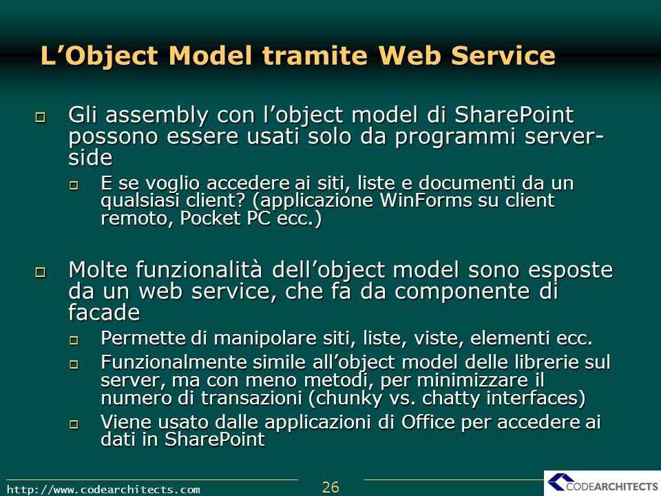 L'Object Model tramite Web Service