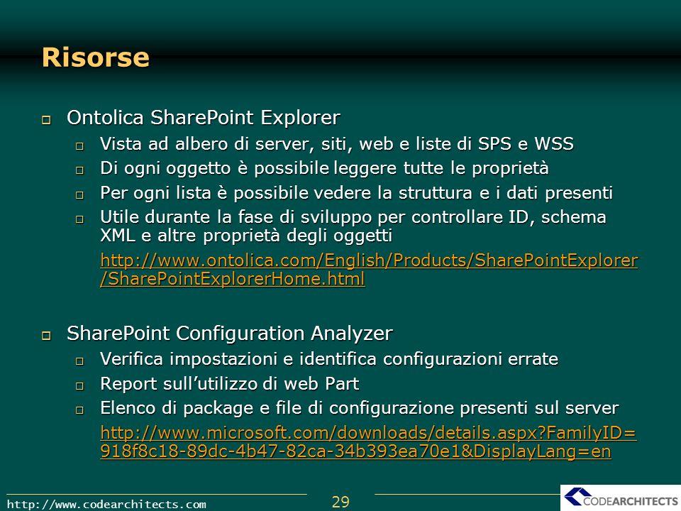 Risorse Ontolica SharePoint Explorer SharePoint Configuration Analyzer
