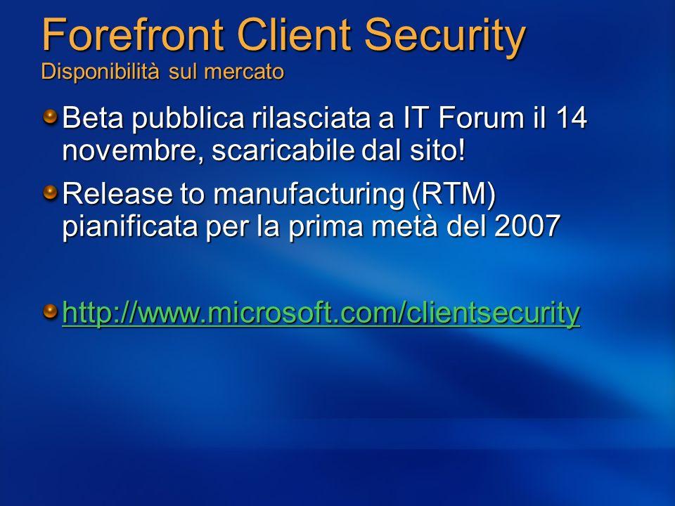 Forefront Client Security Disponibilità sul mercato