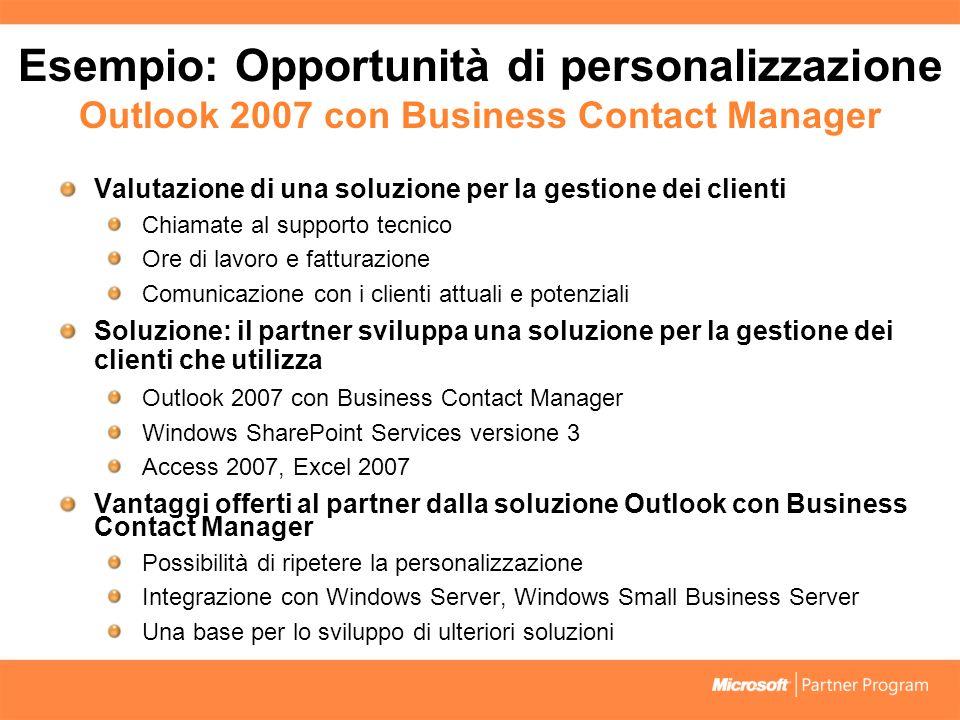 Esempio: Opportunità di personalizzazione Outlook 2007 con Business Contact Manager