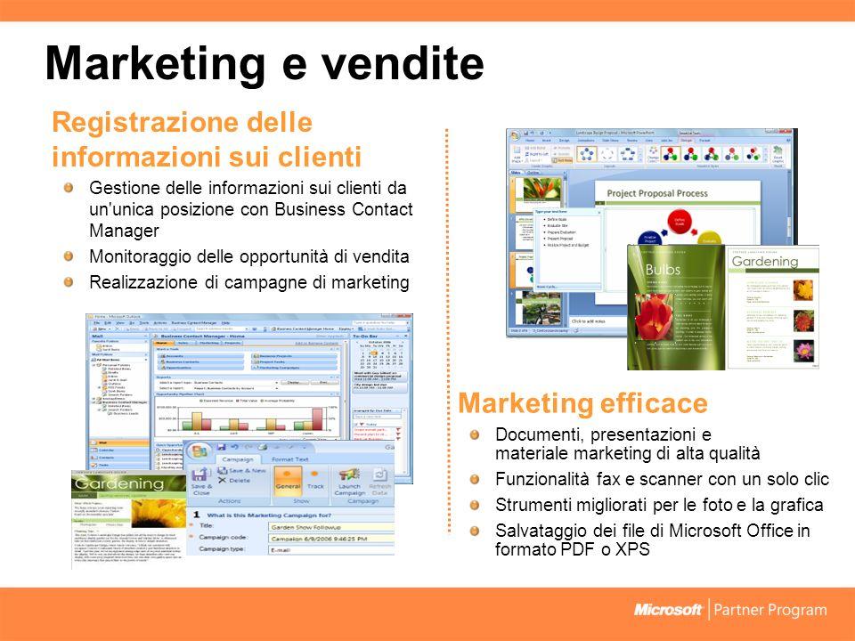 Marketing e vendite Registrazione delle informazioni sui clienti