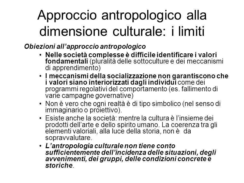 Approccio antropologico alla dimensione culturale: i limiti