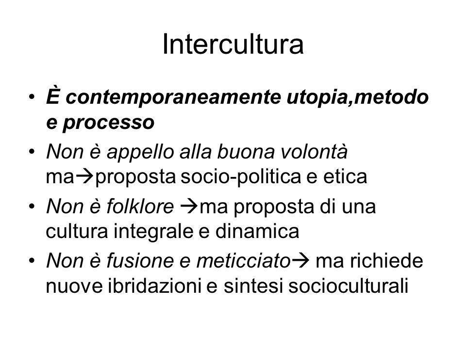 Intercultura È contemporaneamente utopia,metodo e processo