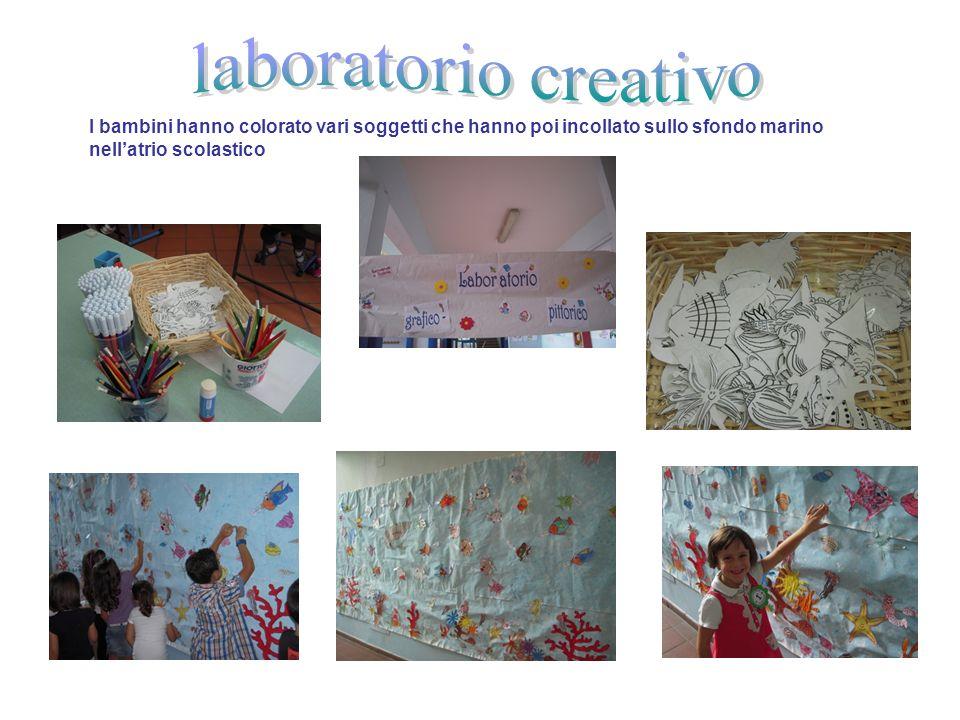 laboratorio creativo I bambini hanno colorato vari soggetti che hanno poi incollato sullo sfondo marino nell'atrio scolastico.