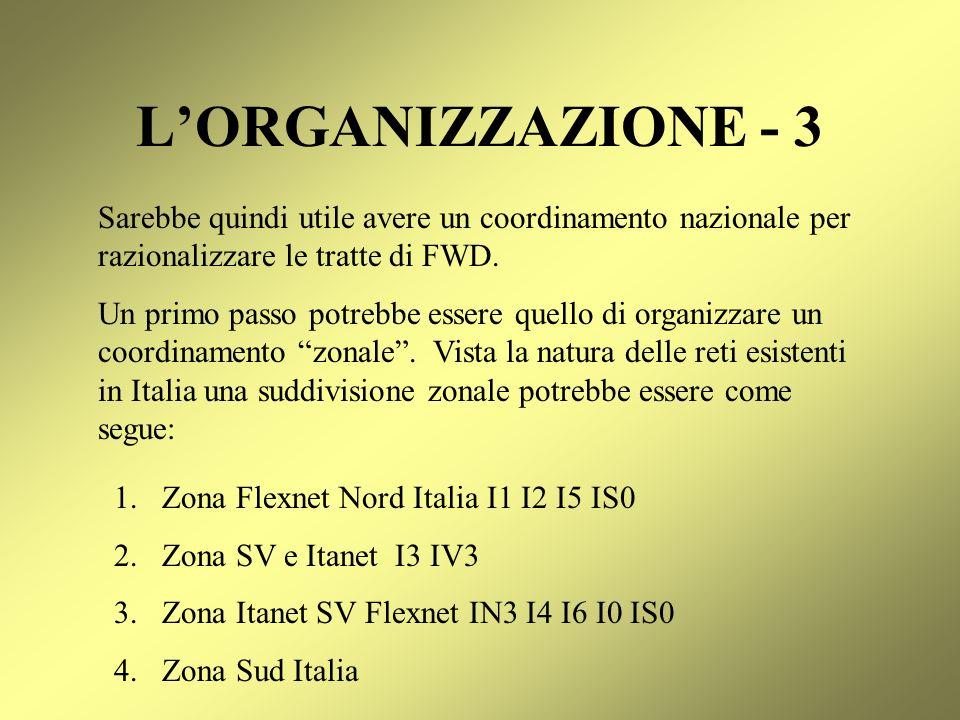 L'ORGANIZZAZIONE - 3 Sarebbe quindi utile avere un coordinamento nazionale per razionalizzare le tratte di FWD.