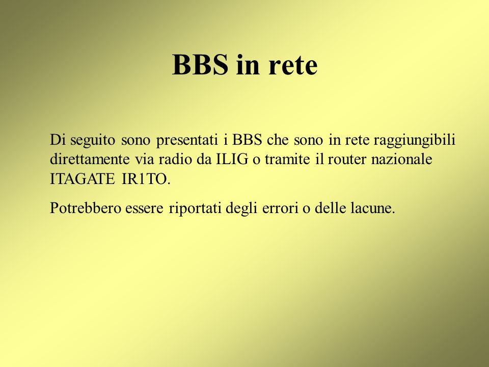 BBS in rete