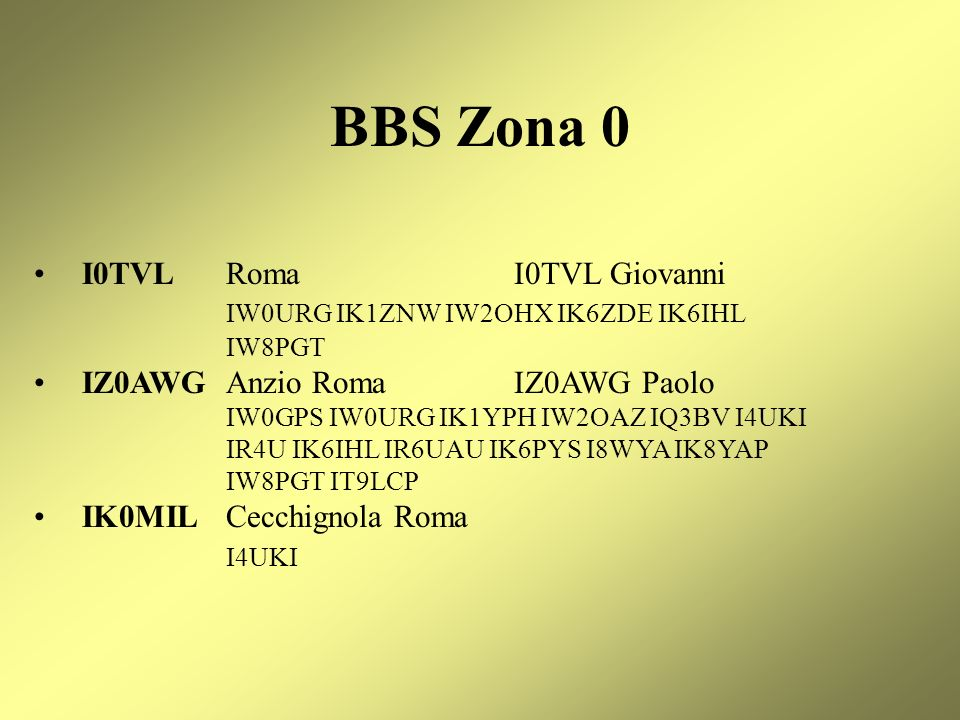 BBS Zona 0 I0TVL Roma I0TVL Giovanni