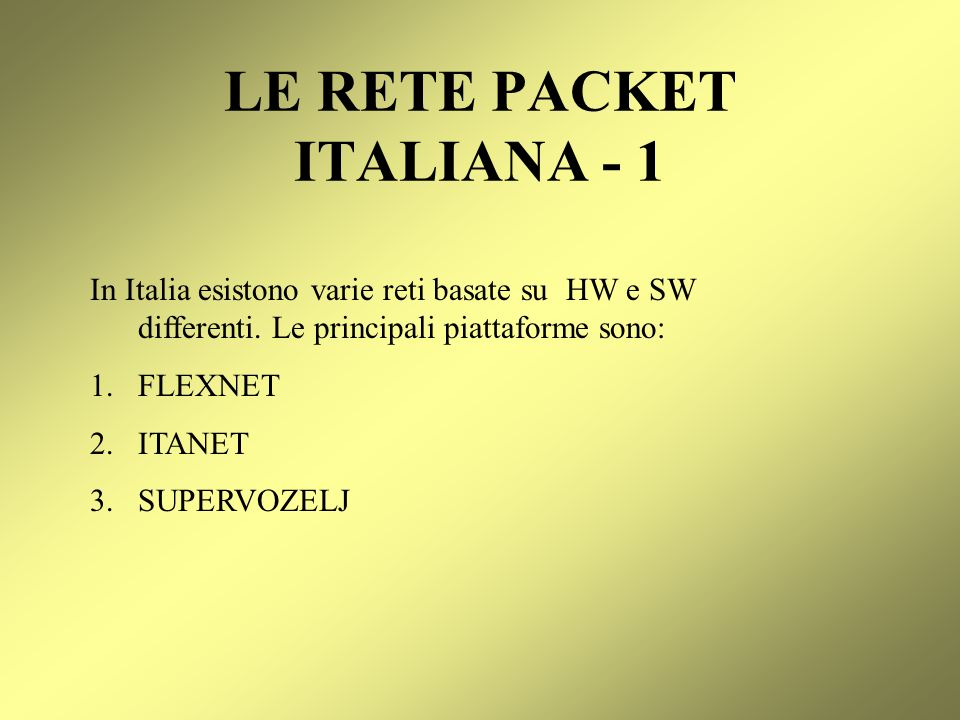LE RETE PACKET ITALIANA - 1