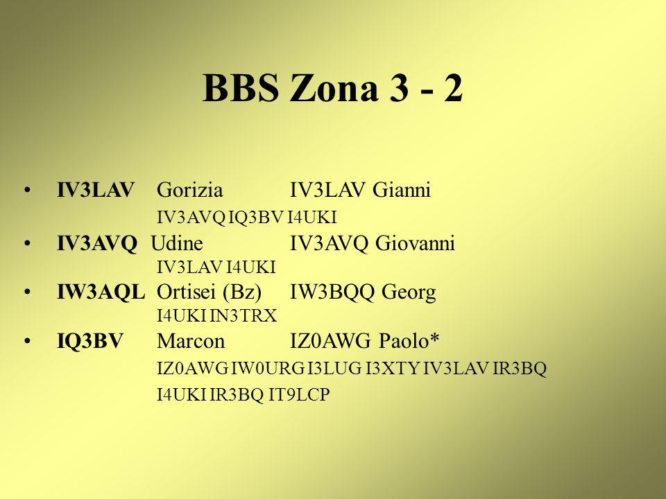BBS Zona 3 - 2 IV3LAV Gorizia IV3LAV Gianni IV3AVQ IQ3BV I4UKI