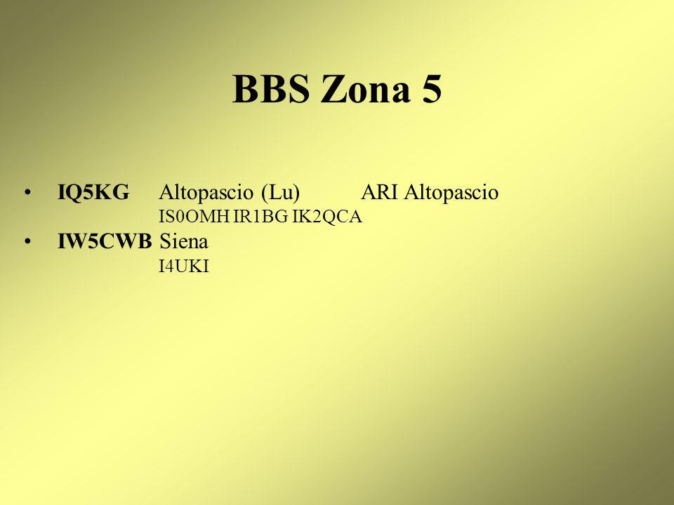 BBS Zona 5 IQ5KG Altopascio (Lu) ARI Altopascio IW5CWB Siena