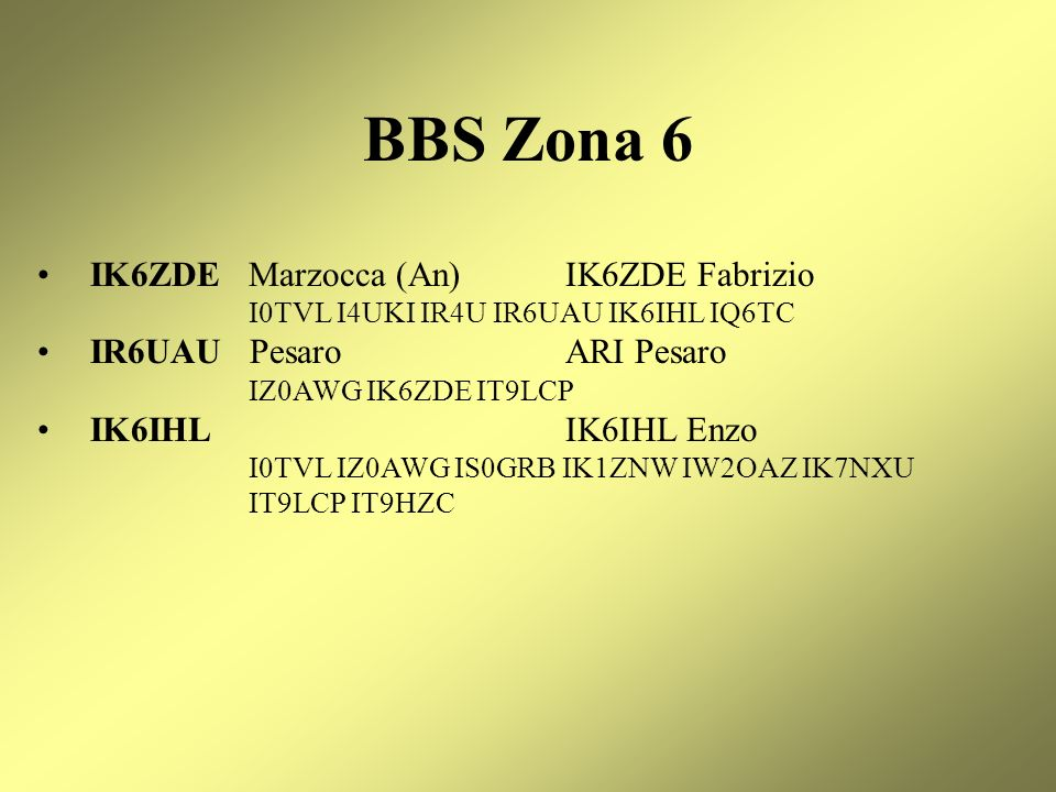 BBS Zona 6 IK6ZDE Marzocca (An) IK6ZDE Fabrizio