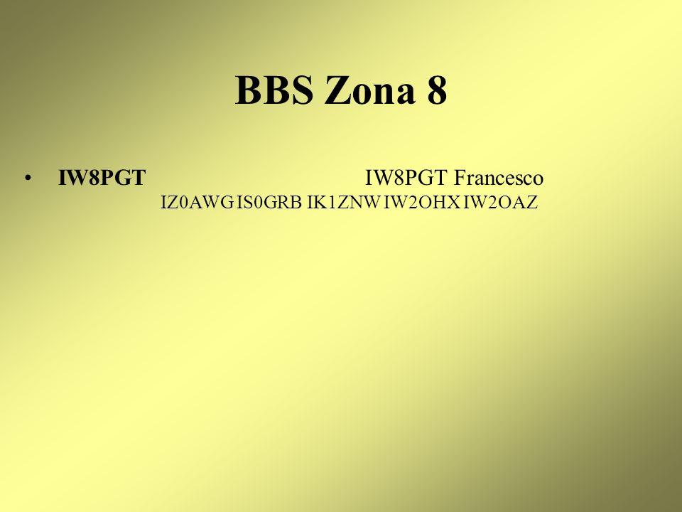 BBS Zona 8 IW8PGT IW8PGT Francesco IZ0AWG IS0GRB IK1ZNW IW2OHX IW2OAZ