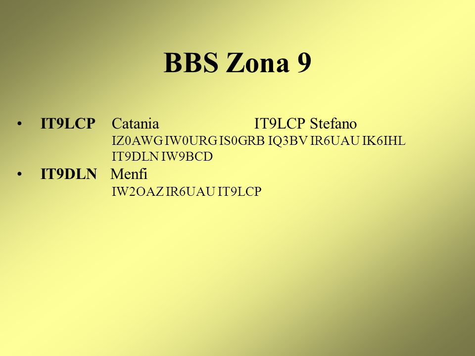 BBS Zona 9 IT9LCP Catania IT9LCP Stefano IT9DLN Menfi