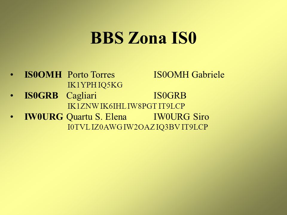BBS Zona IS0 IS0OMH Porto Torres IS0OMH Gabriele