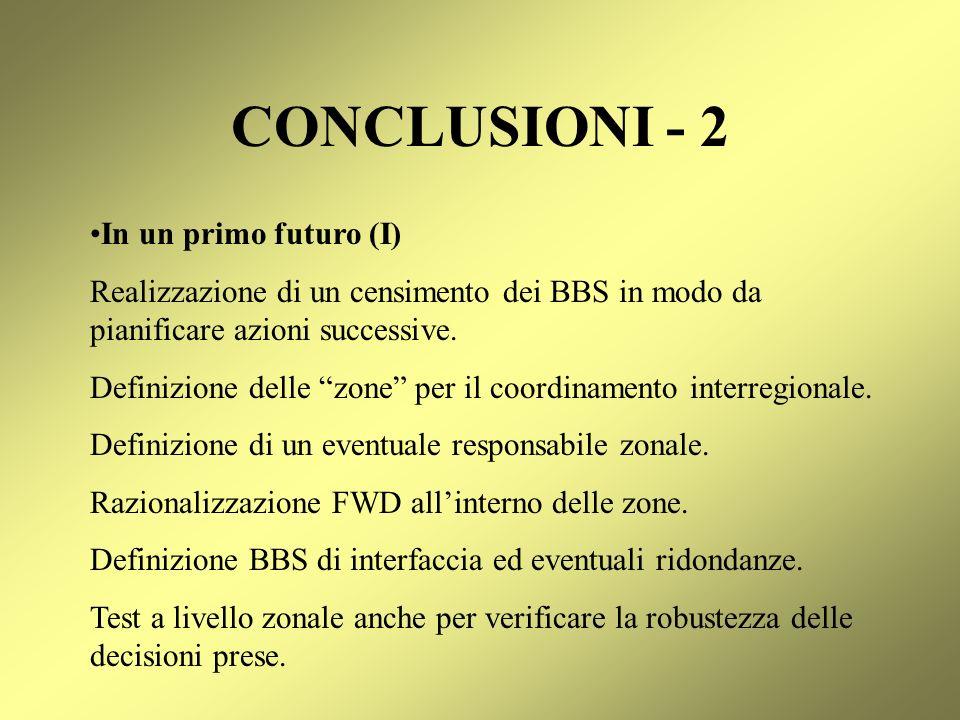 CONCLUSIONI - 2 In un primo futuro (I)