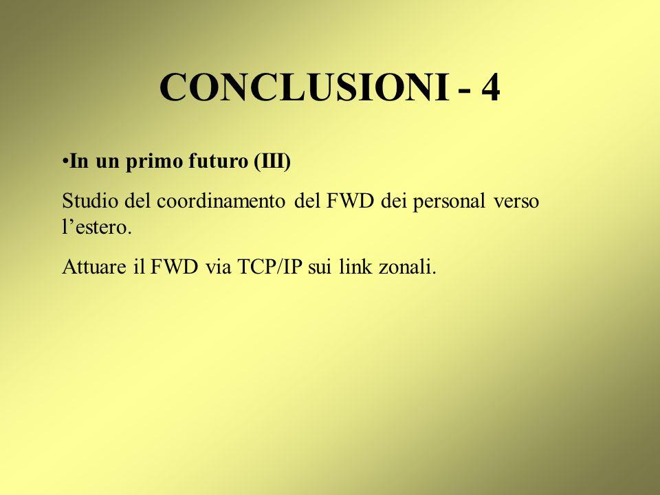 CONCLUSIONI - 4 In un primo futuro (III)