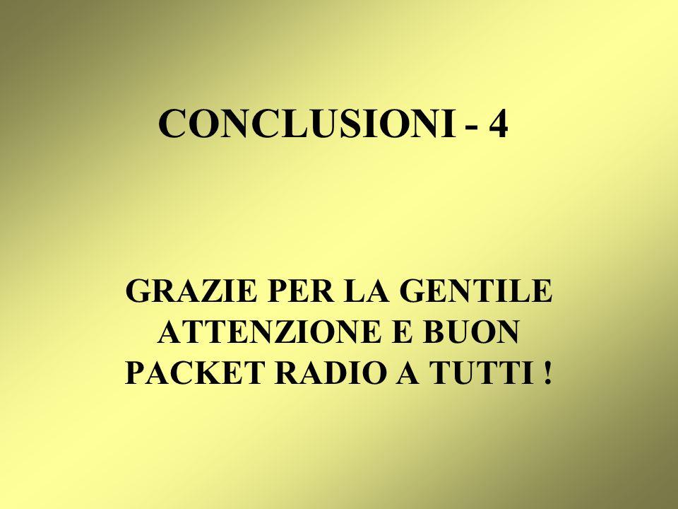 GRAZIE PER LA GENTILE ATTENZIONE E BUON PACKET RADIO A TUTTI !