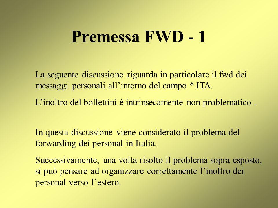 Premessa FWD - 1 La seguente discussione riguarda in particolare il fwd dei messaggi personali all'interno del campo *.ITA.