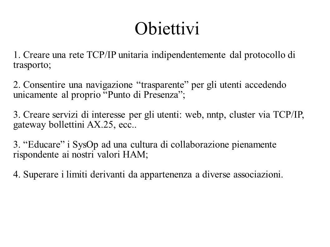 Obiettivi 1. Creare una rete TCP/IP unitaria indipendentemente dal protocollo di. trasporto;