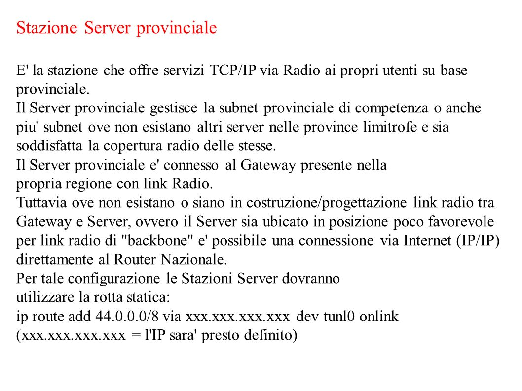 Stazione Server provinciale