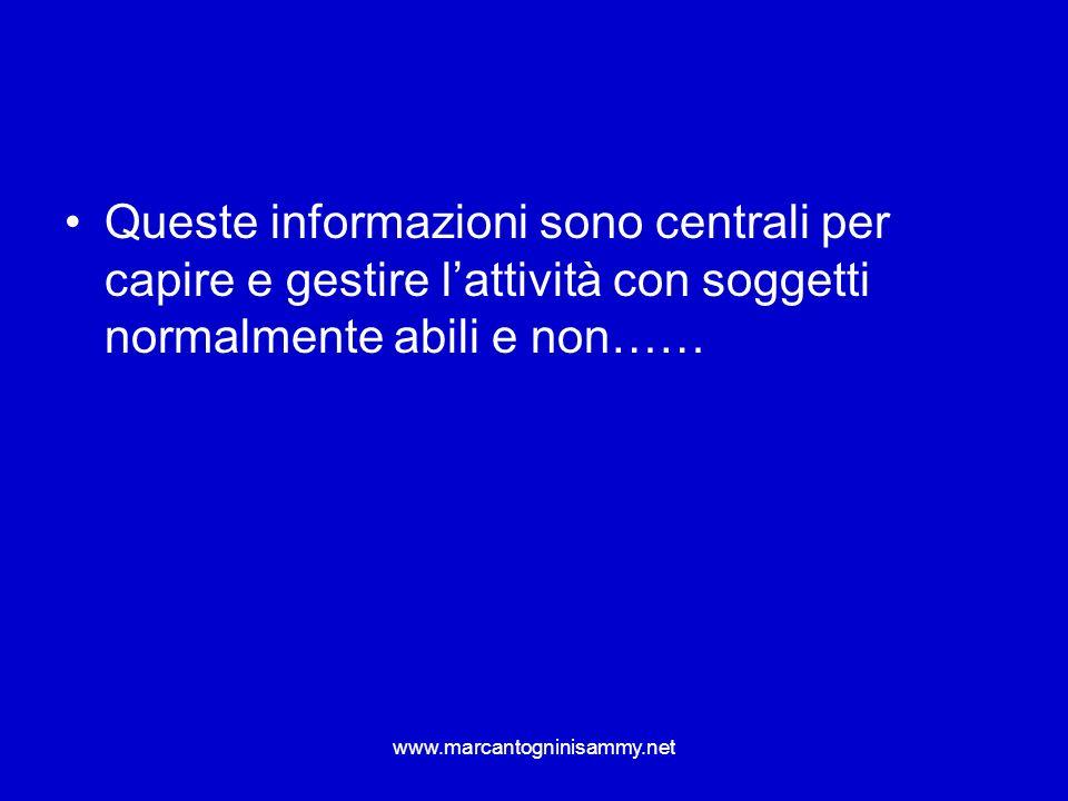 Queste informazioni sono centrali per capire e gestire l'attività con soggetti normalmente abili e non……