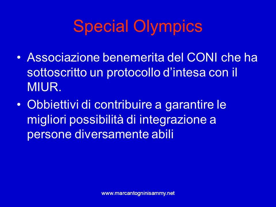 Special Olympics Associazione benemerita del CONI che ha sottoscritto un protocollo d'intesa con il MIUR.