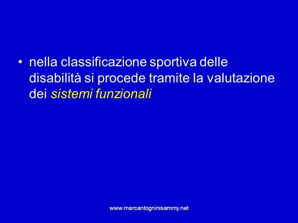 nella classificazione sportiva delle disabilità si procede tramite la valutazione dei sistemi funzionali