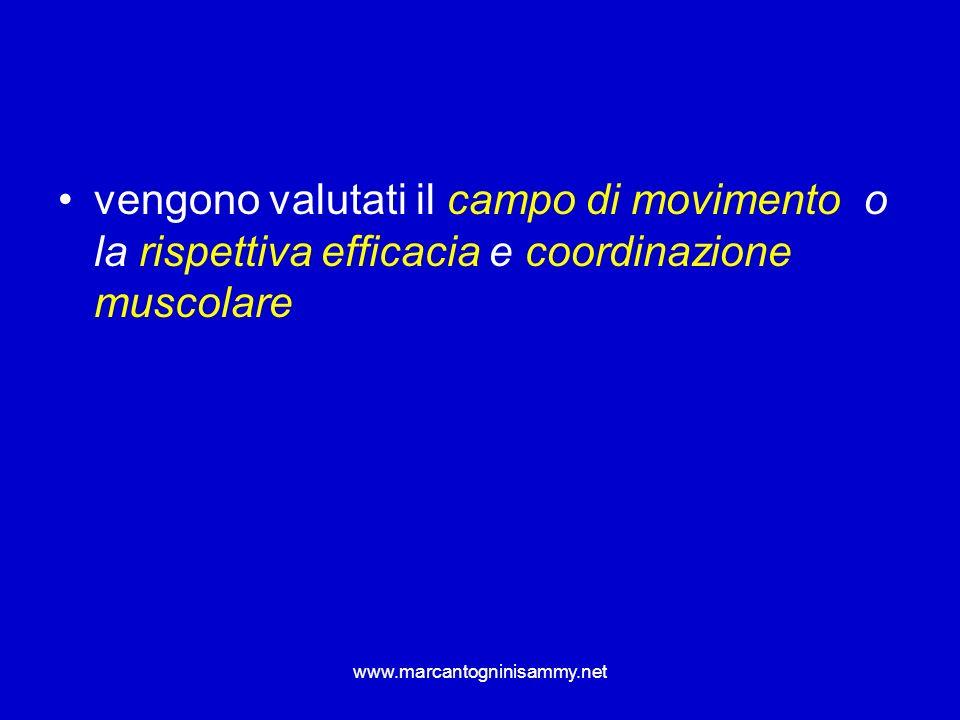 vengono valutati il campo di movimento o la rispettiva efficacia e coordinazione muscolare