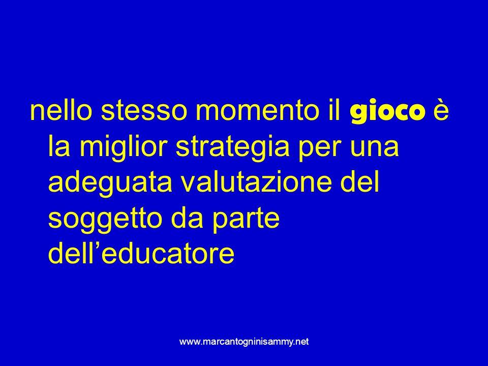 nello stesso momento il gioco è la miglior strategia per una adeguata valutazione del soggetto da parte dell'educatore