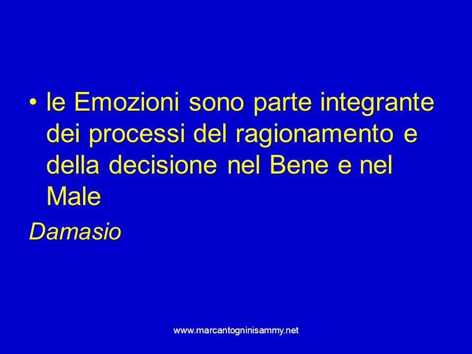 le Emozioni sono parte integrante dei processi del ragionamento e della decisione nel Bene e nel Male