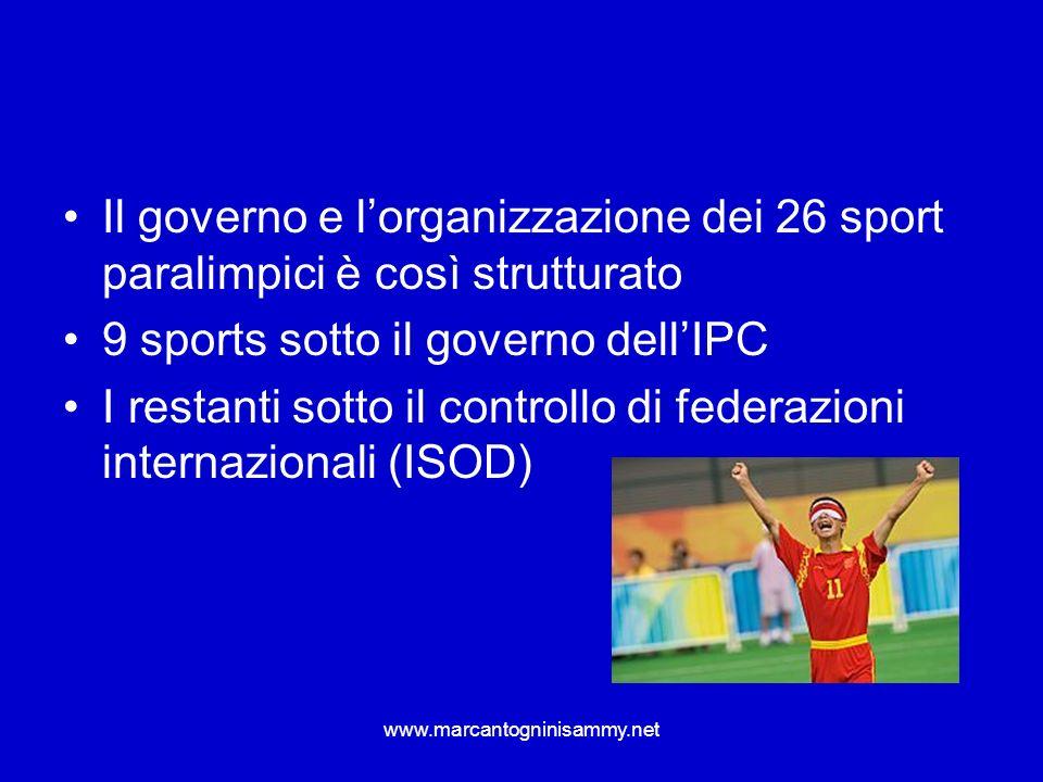 9 sports sotto il governo dell'IPC