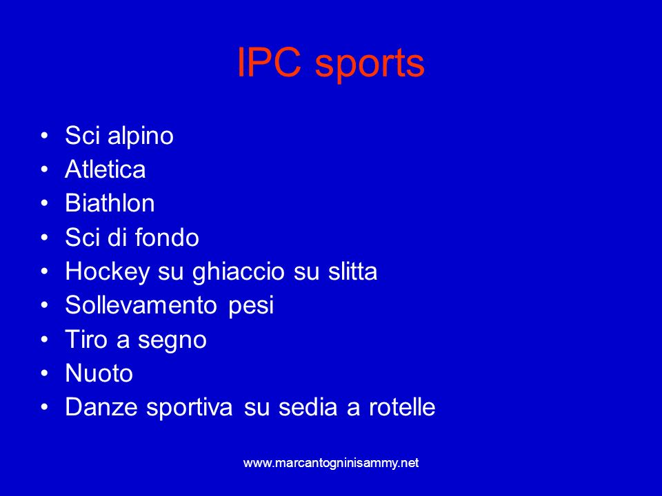 IPC sports Sci alpino Atletica Biathlon Sci di fondo