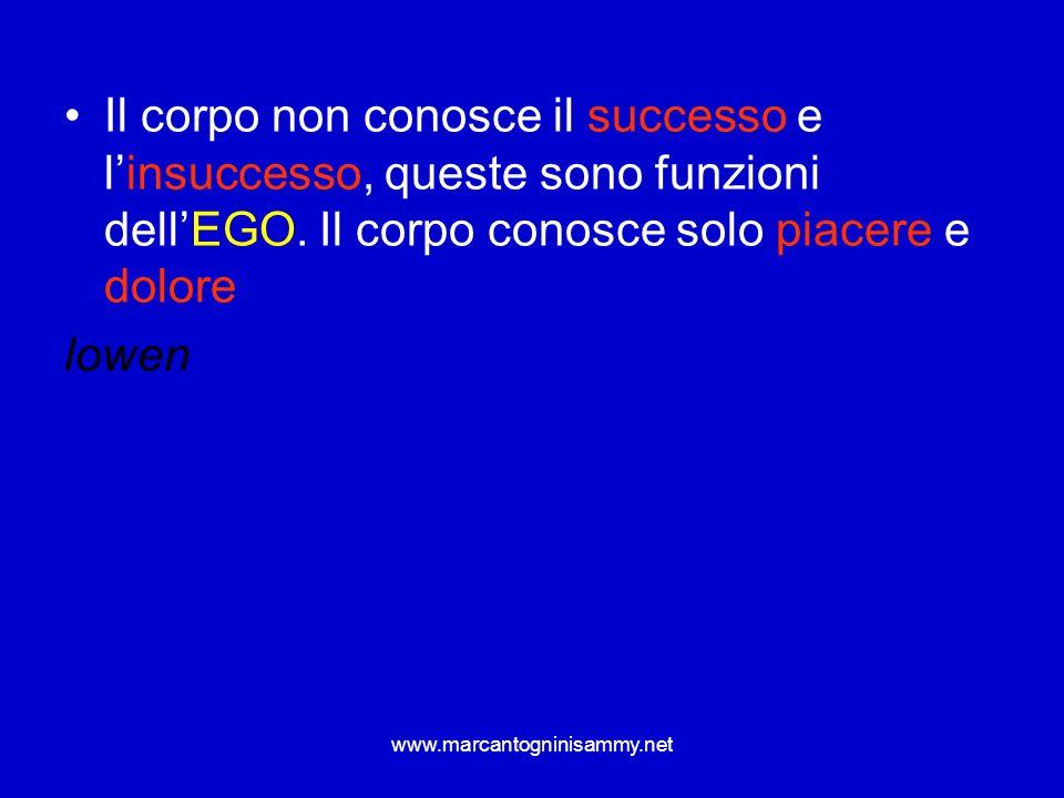 Il corpo non conosce il successo e l'insuccesso, queste sono funzioni dell'EGO. Il corpo conosce solo piacere e dolore
